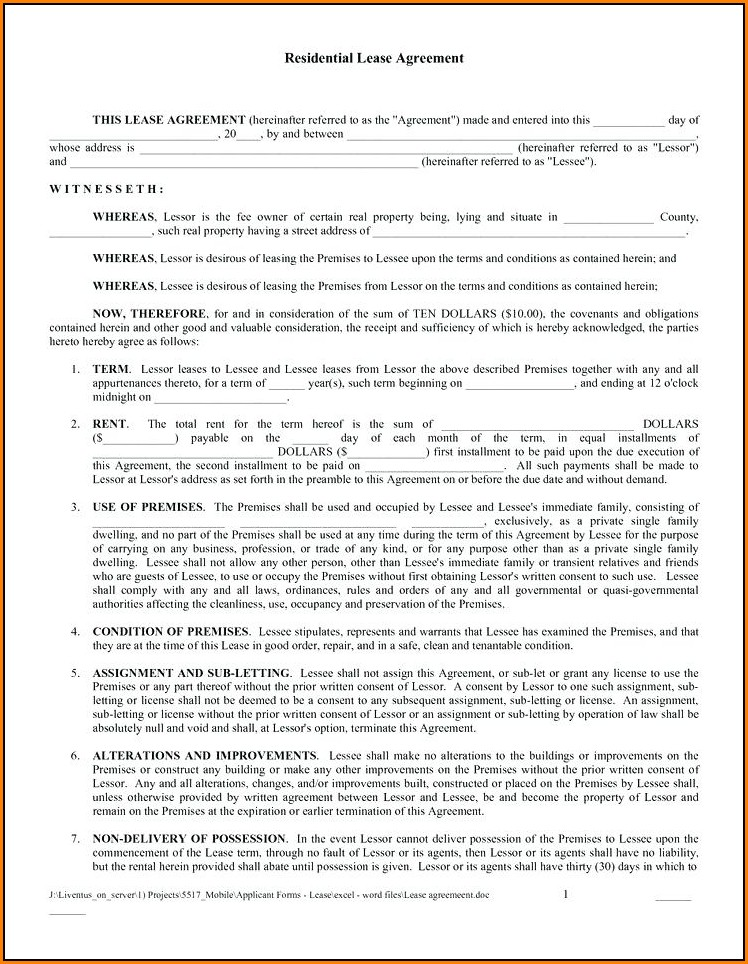 Free Residential Lease Agreement Forms