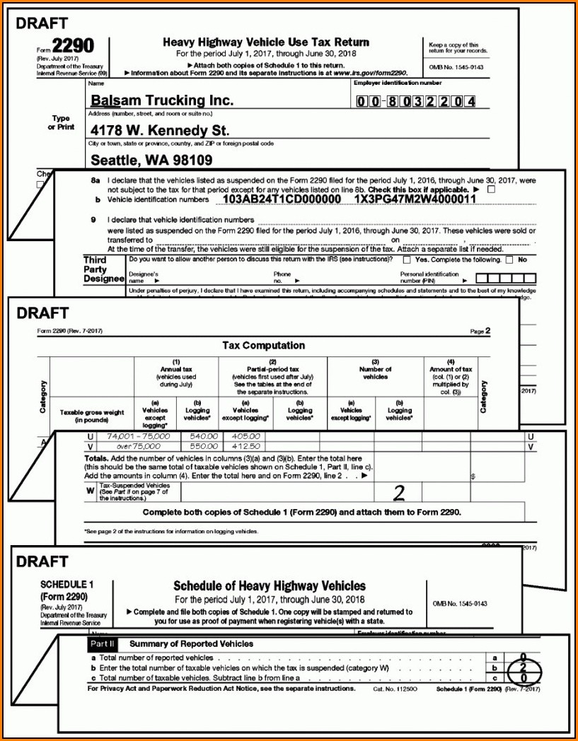Irs Form 2290 Schedule 1