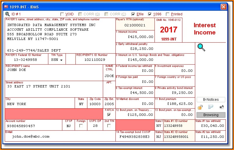 Irs Forms 1099 Int