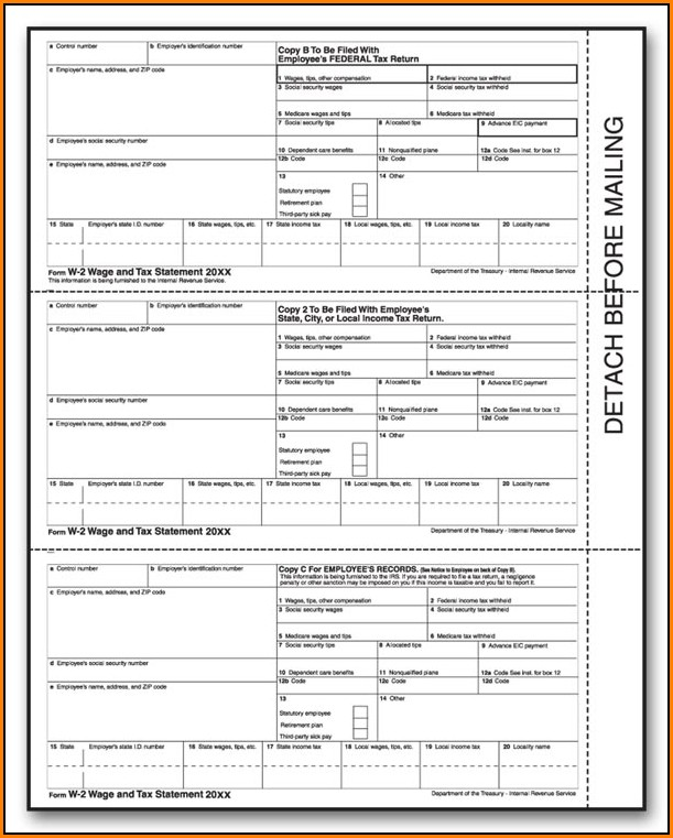 Printable W2 Form For Employees 2018