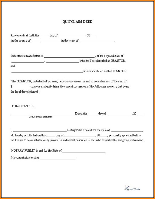 Quick Claim Deed Form Free