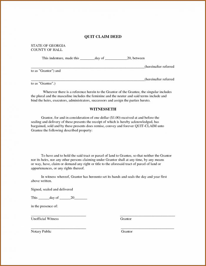 Quick Claim Deed Form Georgia