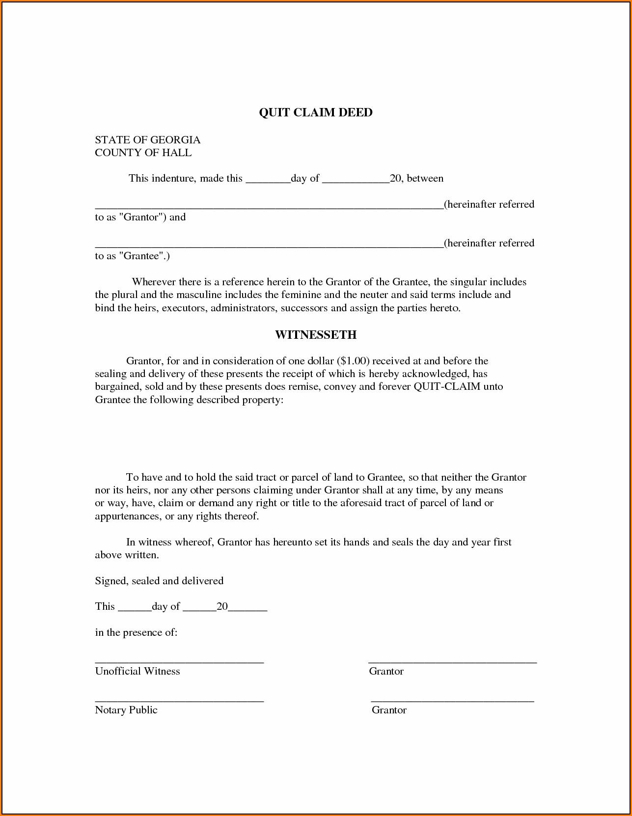 Quick Claim Deed Form Georgia