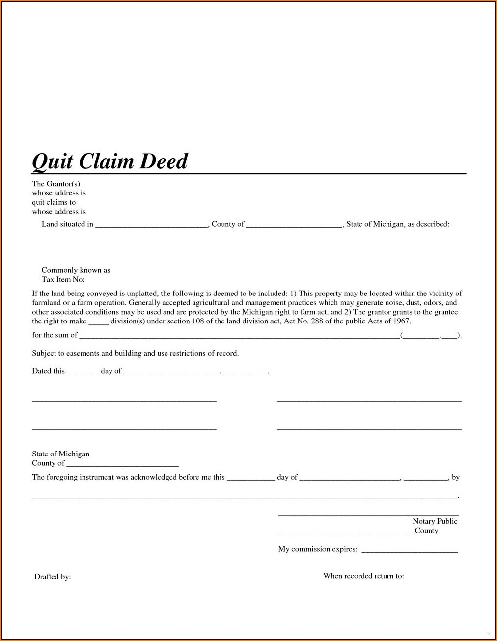 Quick Claim Deed Form Michigan
