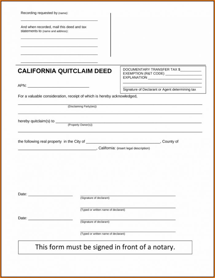 Quitclaim Deed Form California