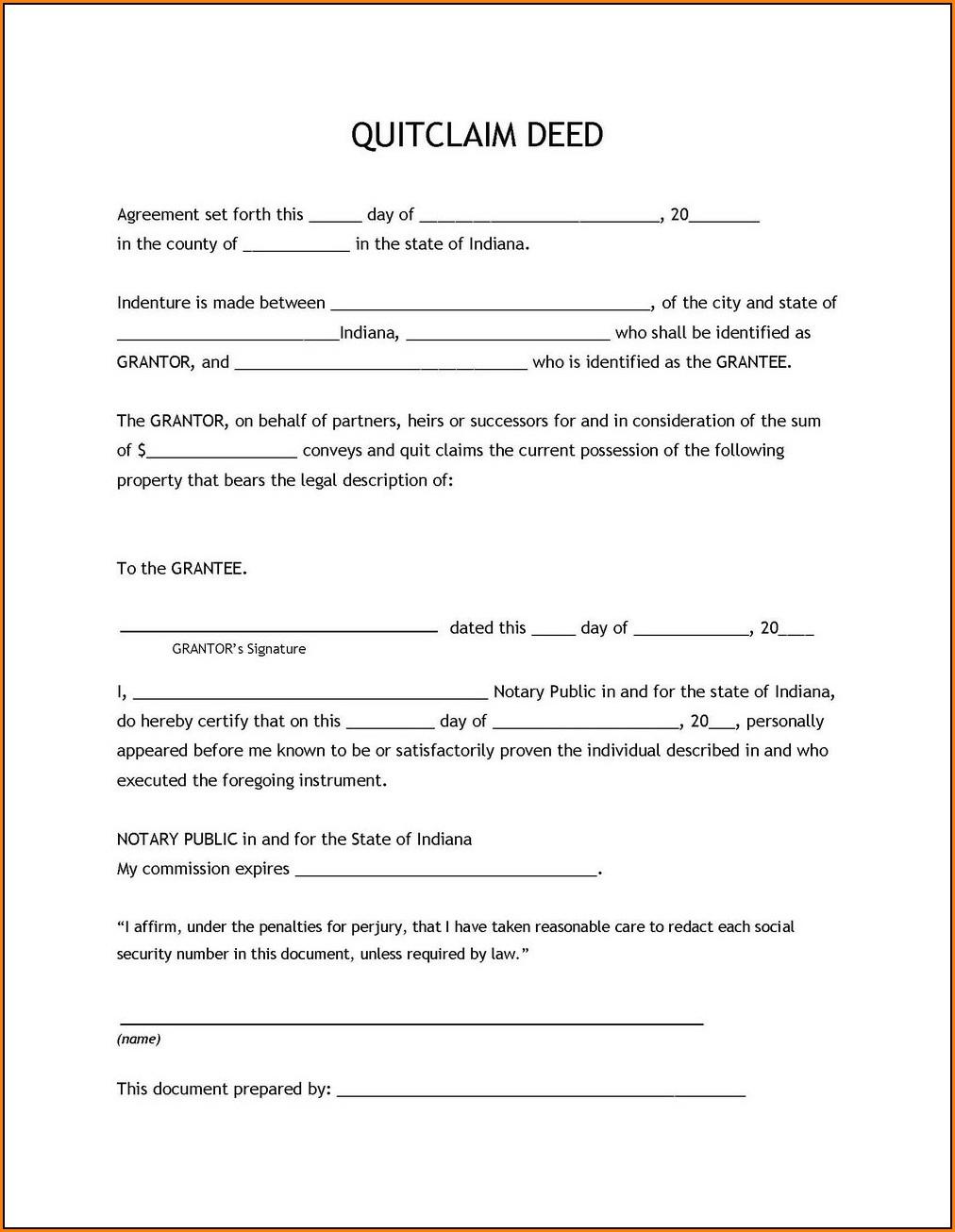 Quitclaim Deed Form Ct