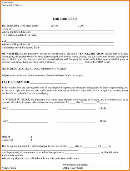 Quitclaim Deed Form Florida