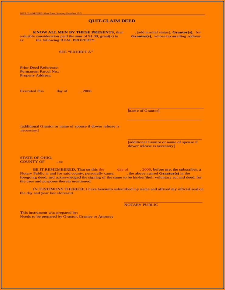 Quitclaim Deed Form Ohio