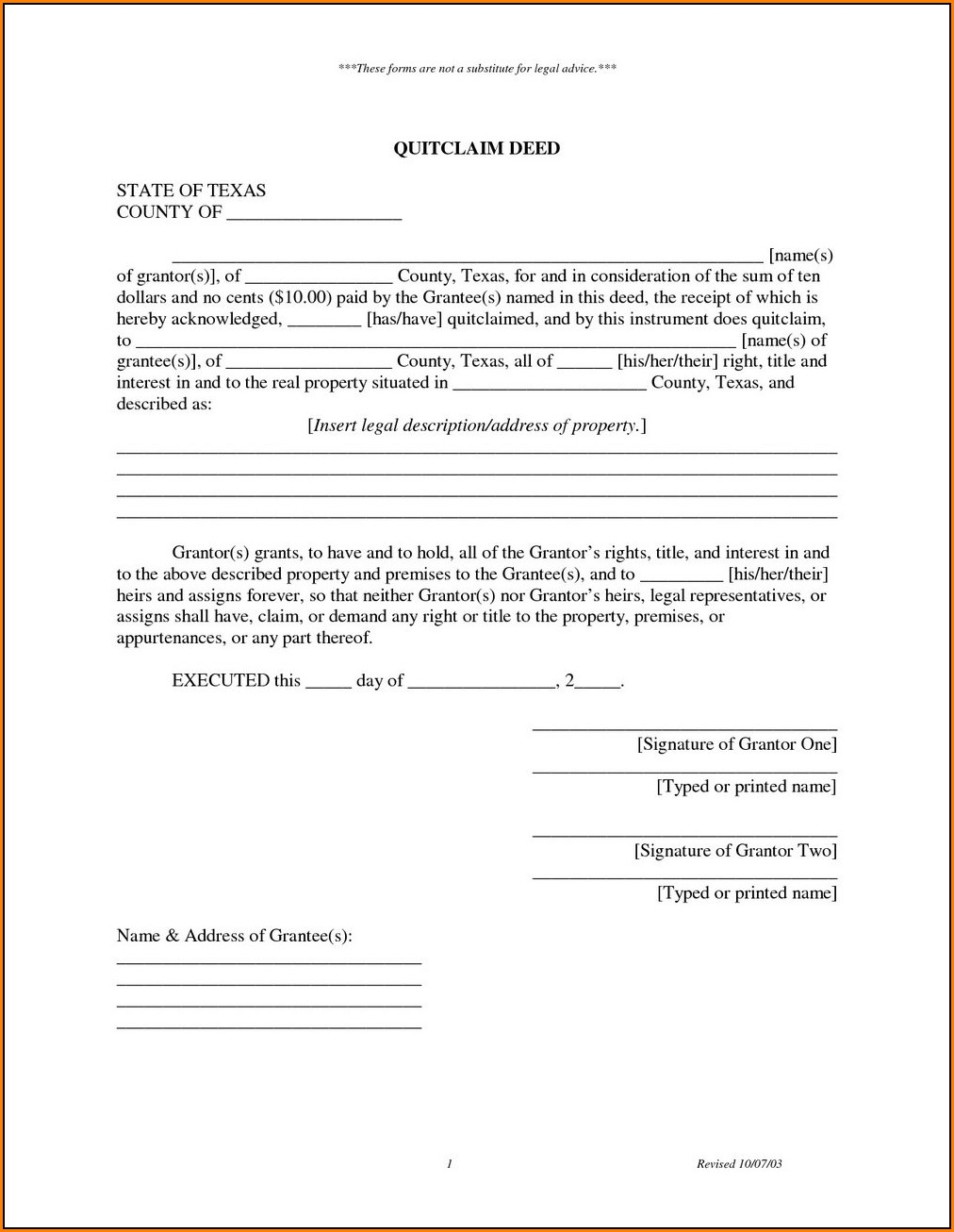Quitclaim Deed Form Texas