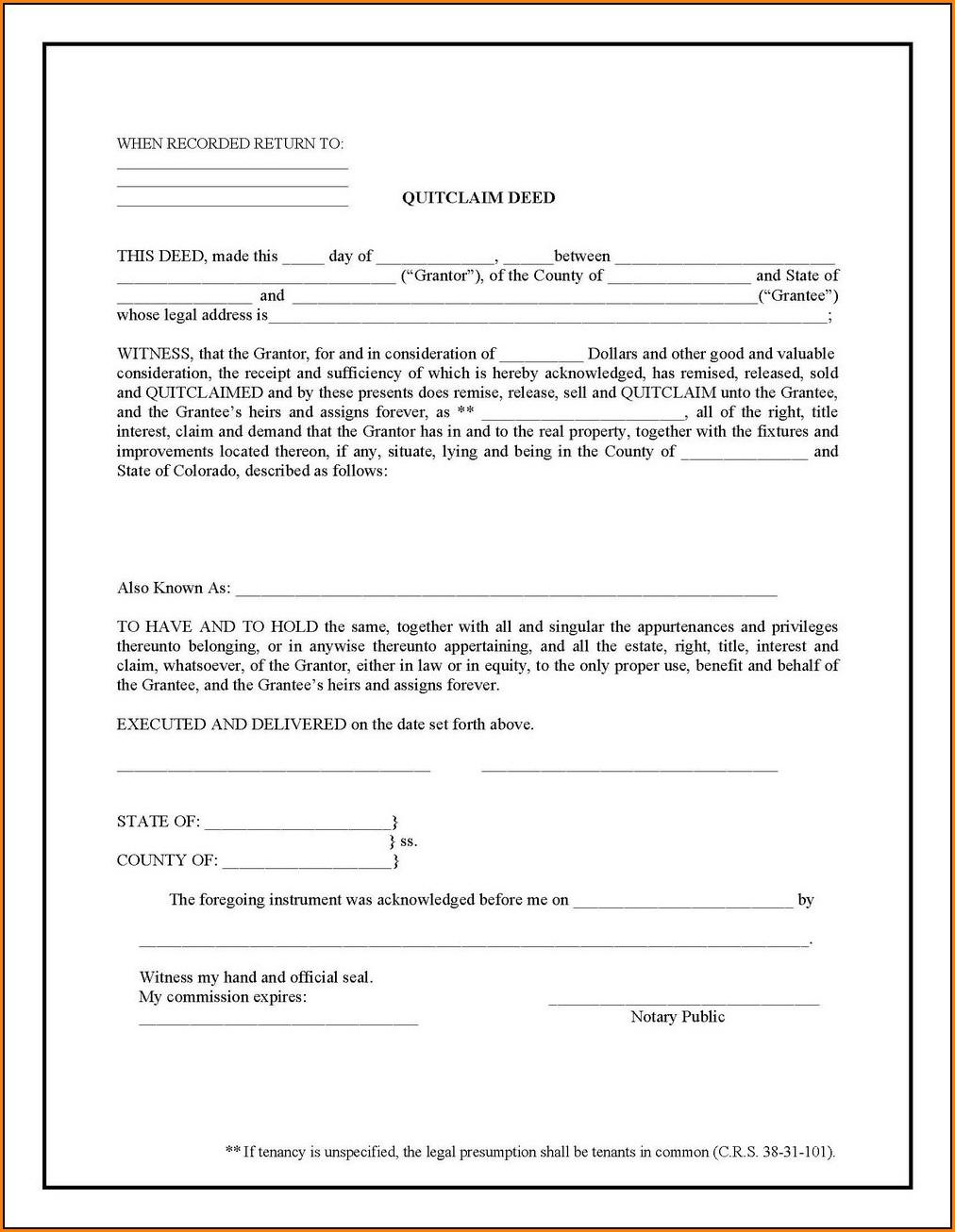 Quitclaim Deed Form Uk