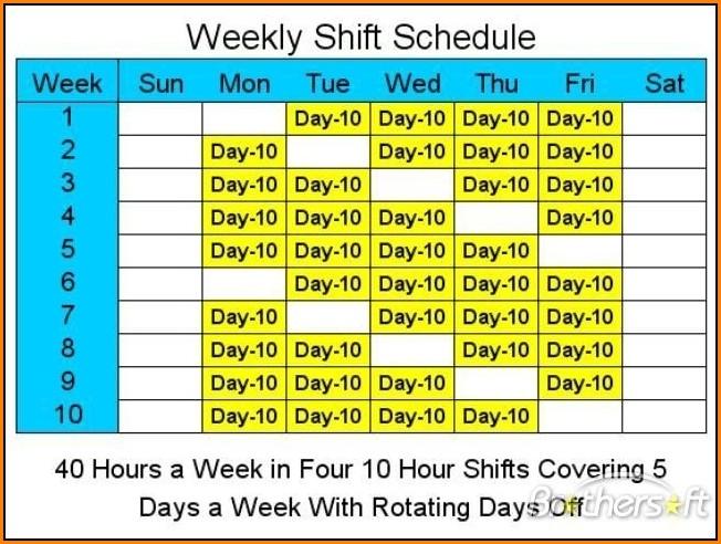 10 Hour Shift Schedule Templates