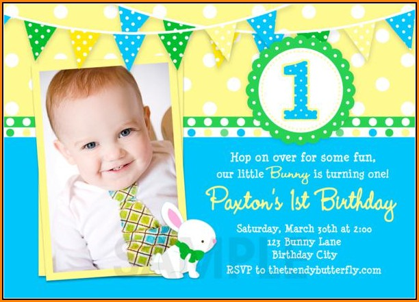 1st Birthday Invitation Template Boy