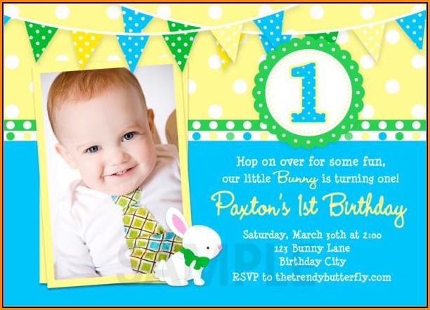 1st Birthday Invitation Template Boy