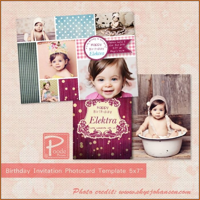 1st Birthday Invitation Templates Photoshop