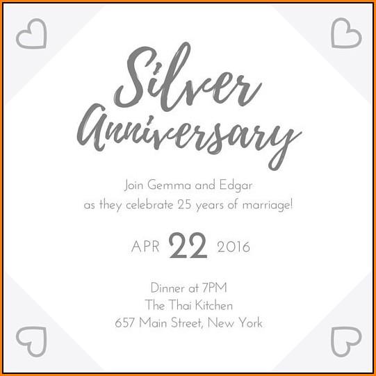 25th Wedding Anniversary Invitation Templates
