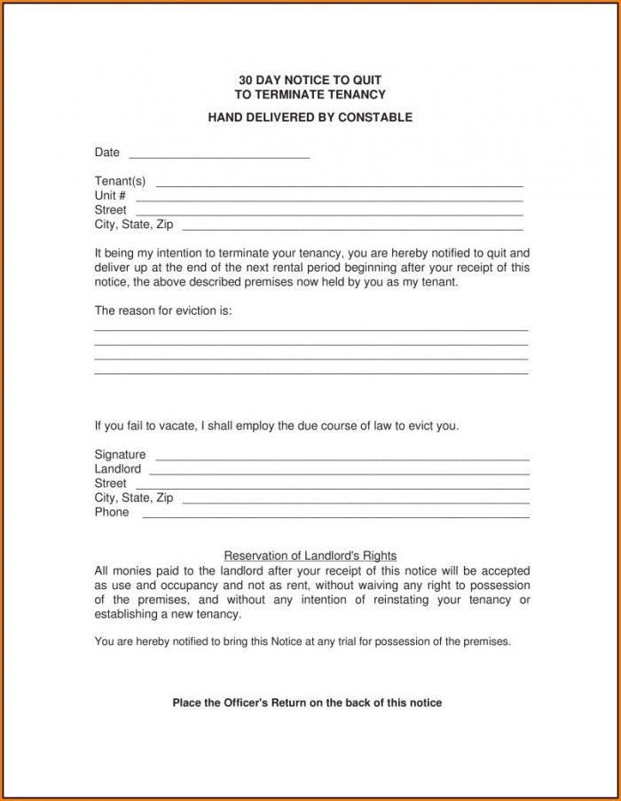 30 Day Eviction Notice Template Nc Template 1 Resume Examples