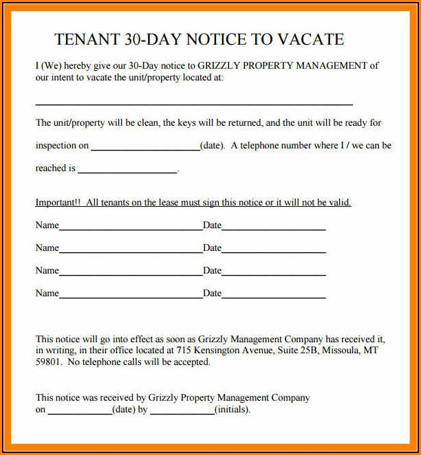 30 Day Tenant Eviction Notice Template