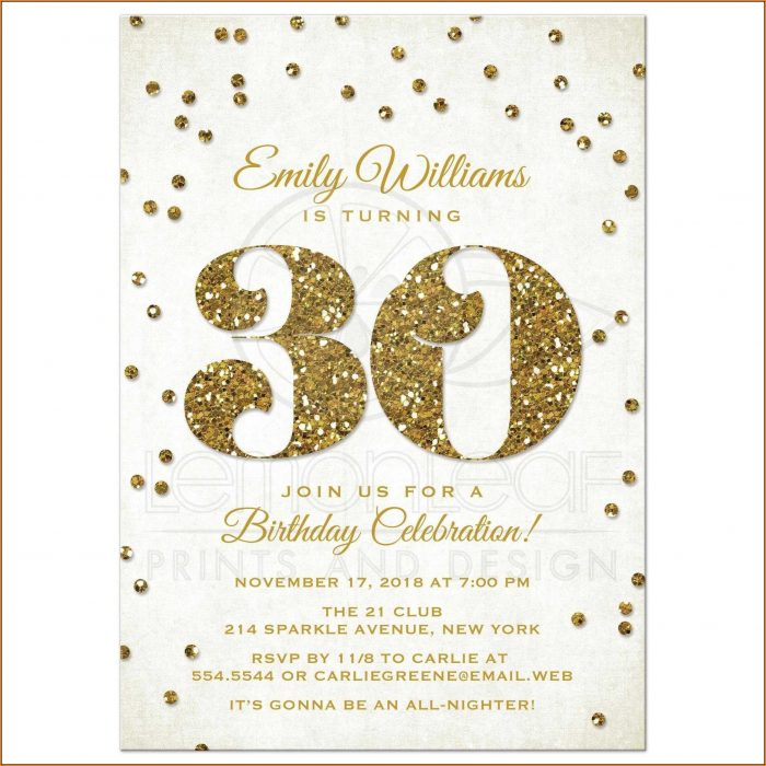 30th Birthday Invitation Templates Word
