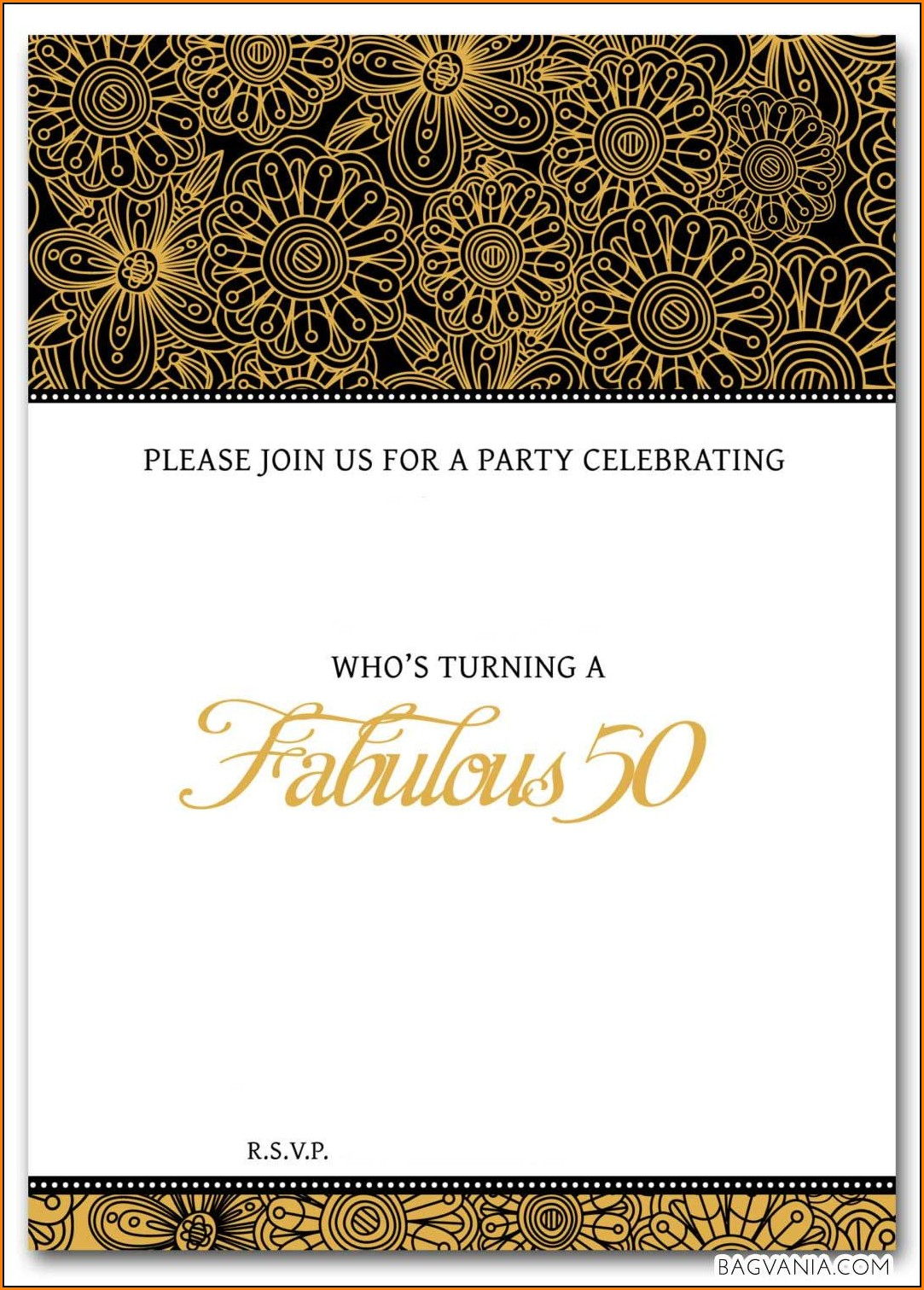 50th Birthday Invitation Templates Free Printable Template 1