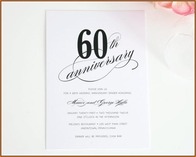 60th Wedding Anniversary Invitations Free Templates