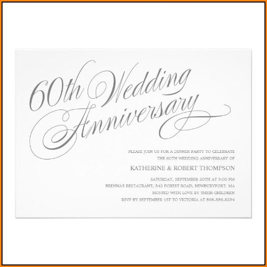 60th Wedding Anniversary Invitations Templates