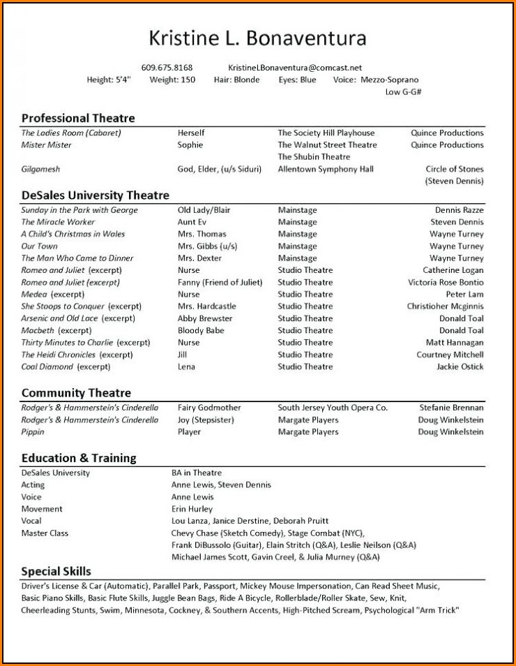 Acting Resume Builder Online