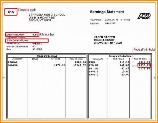 Adp Pay Stub Template Download