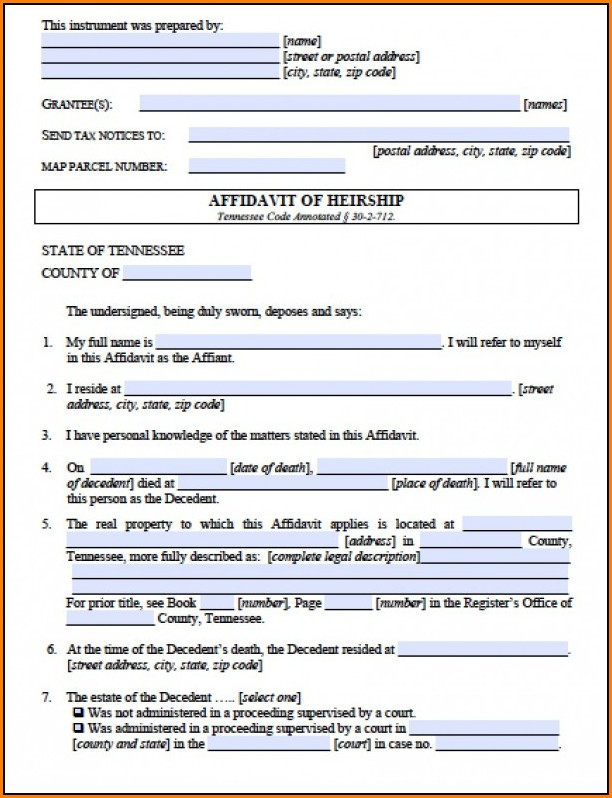 Affidavit Of Heirship Form Tennessee