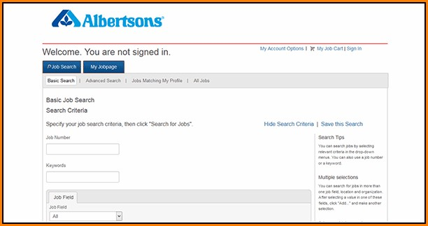 Albertsons Online Job Application