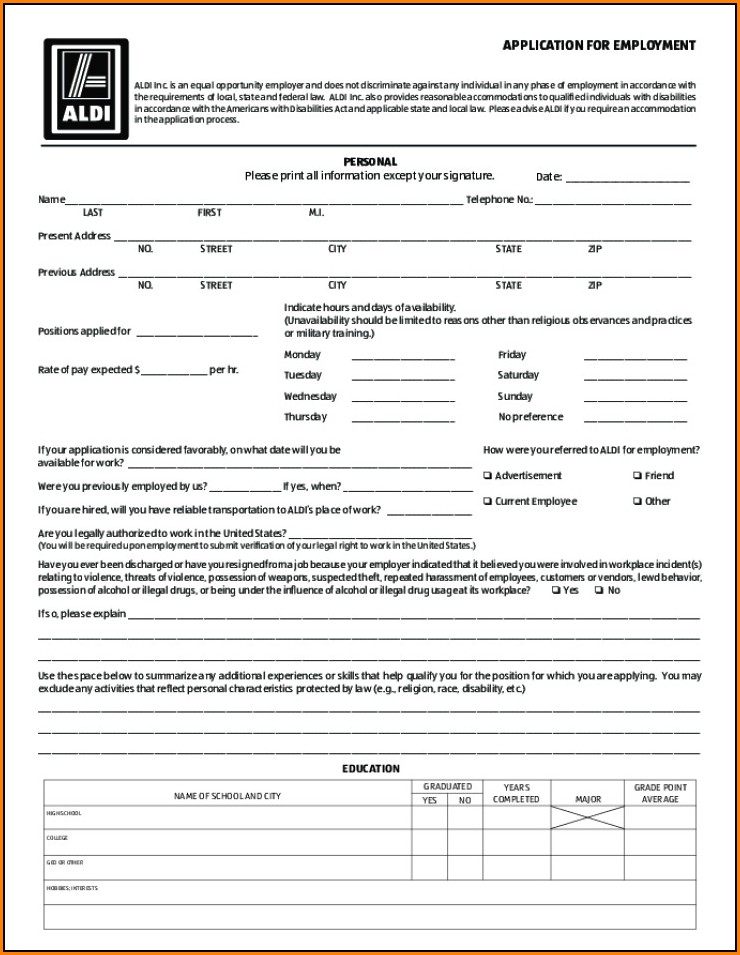 Aldi Job Application Form Online