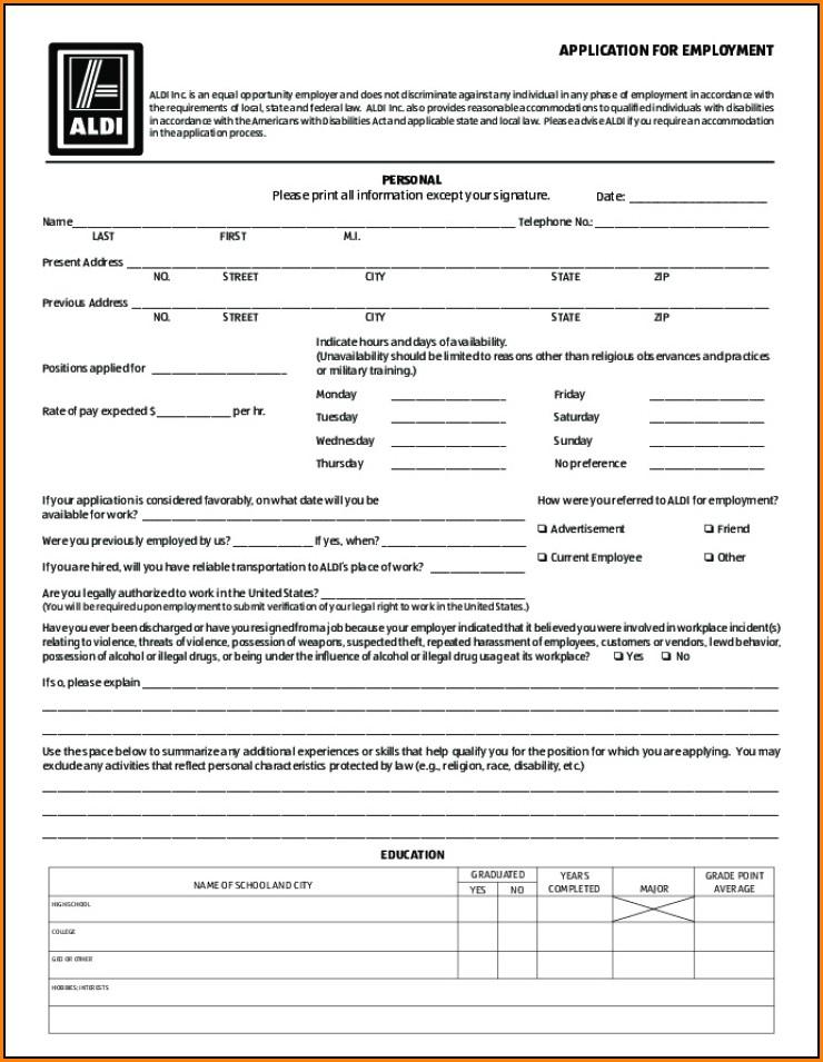 Aldi Job Application Form Online