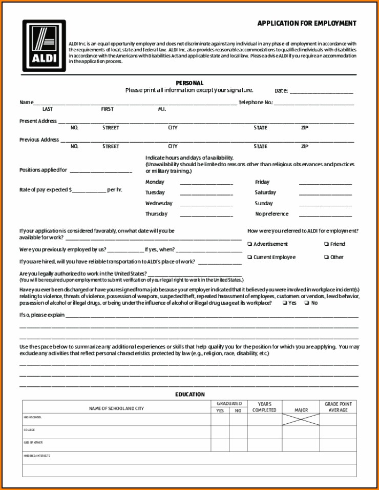 Aldi Job Application Printable