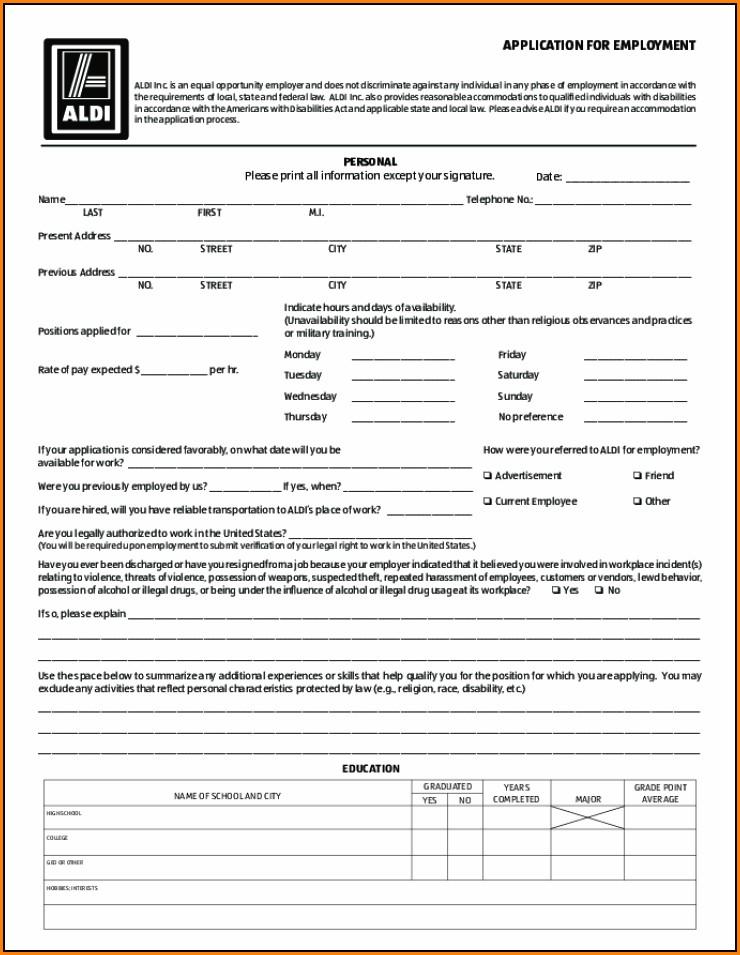 Aldi Printable Job Application Form