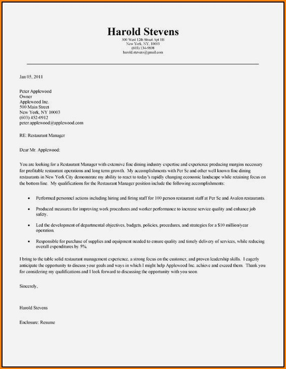 Application Letter For Hotel And Restaurant Manager