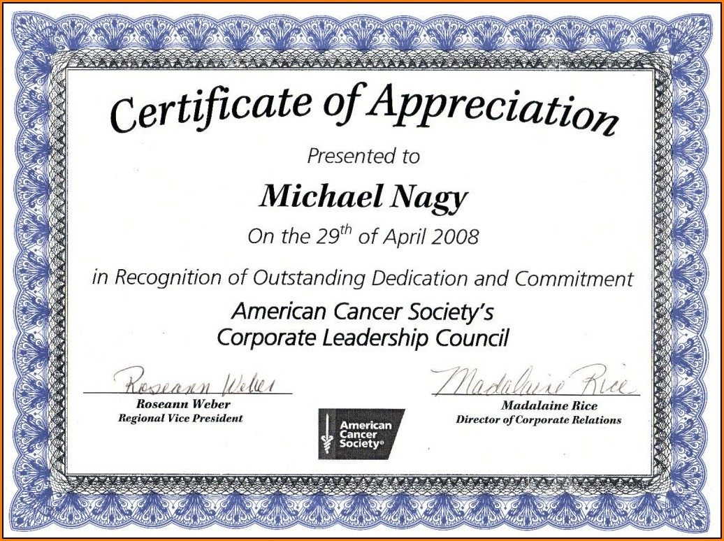 Appreciation Certificate Template Free