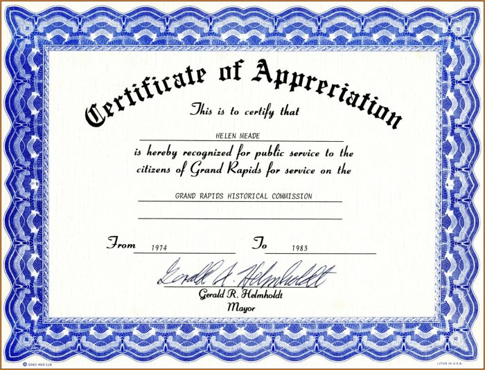 Appreciation Certificate Templates Free Download