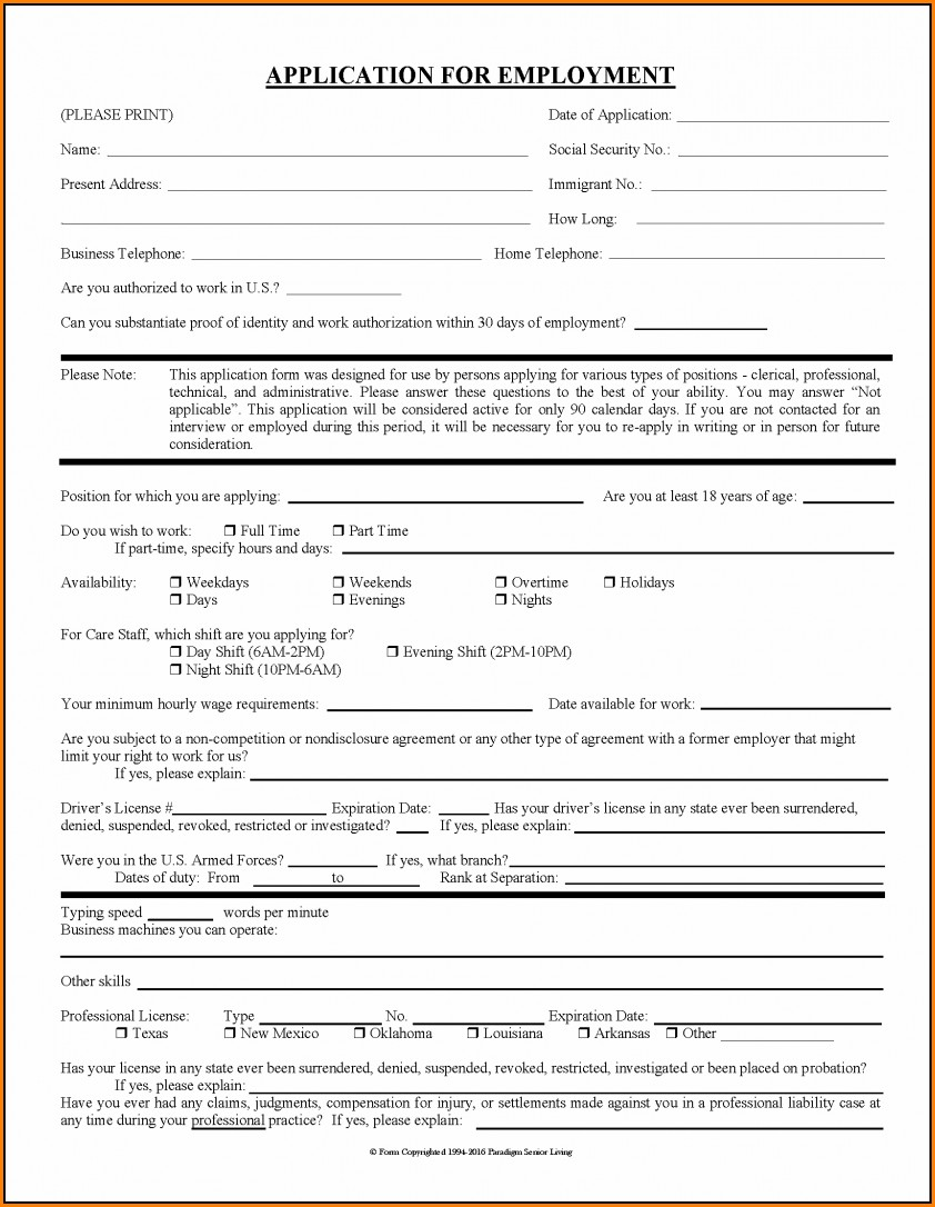 Assisted Living Job Application