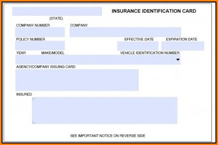Auto Insurance Card Template