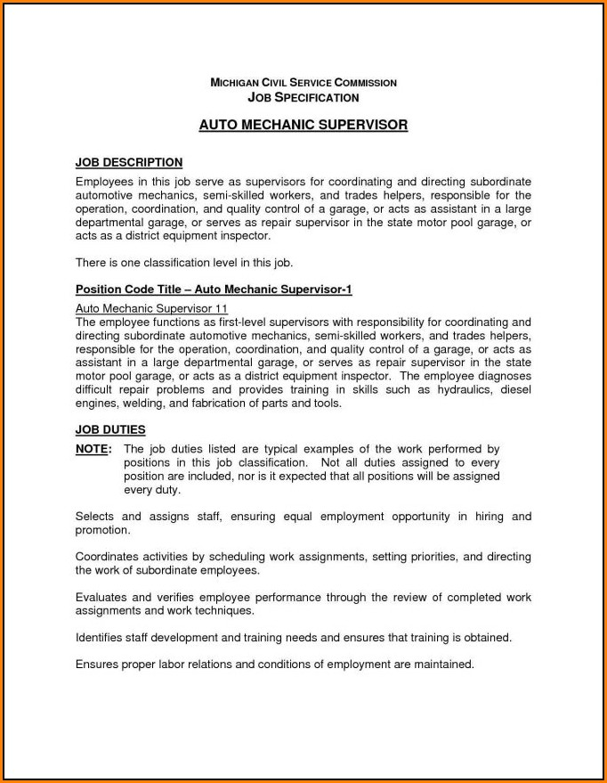 Auto Mechanic Job Application Form