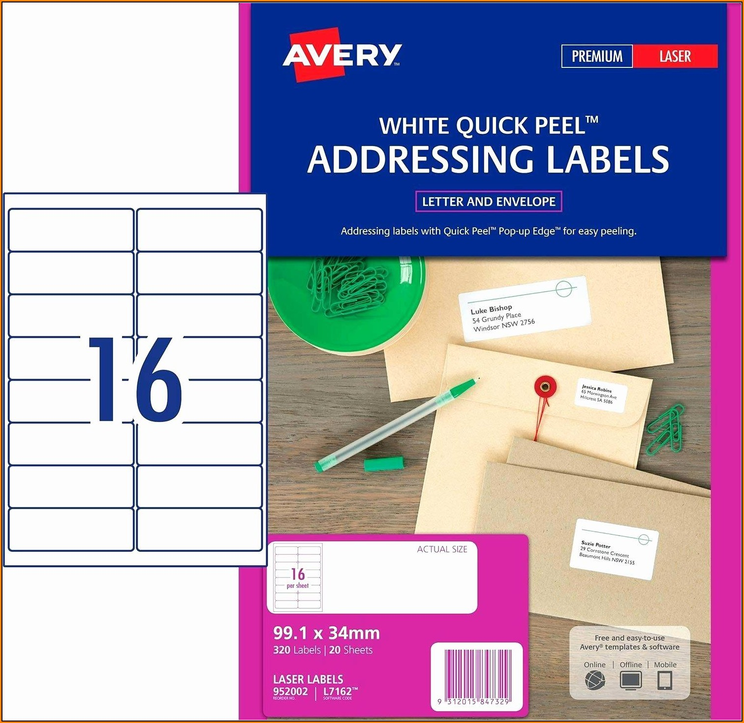 Avery Return Address Labels Template 5267
