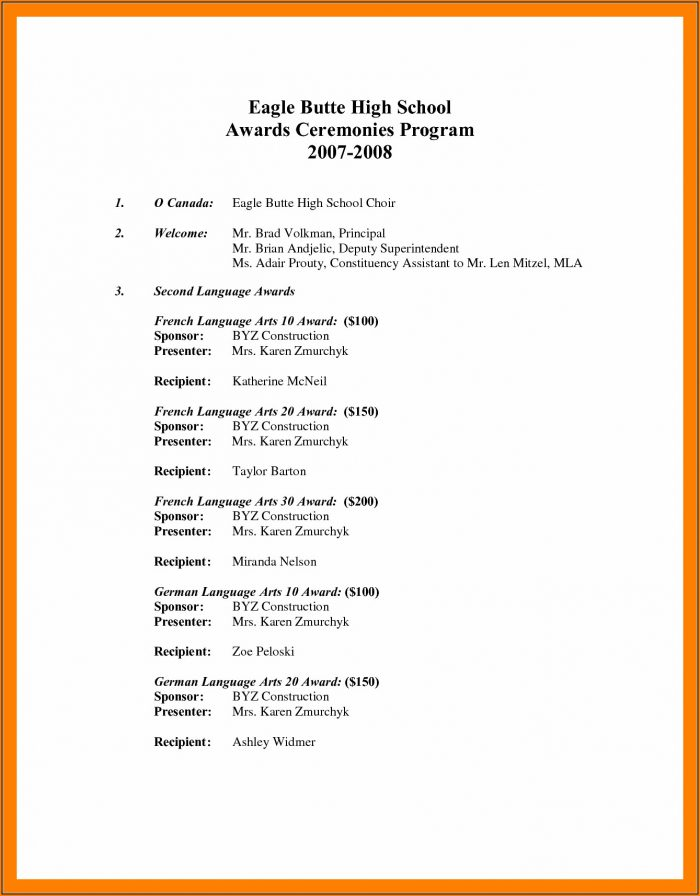 Awards Ceremony Program Template