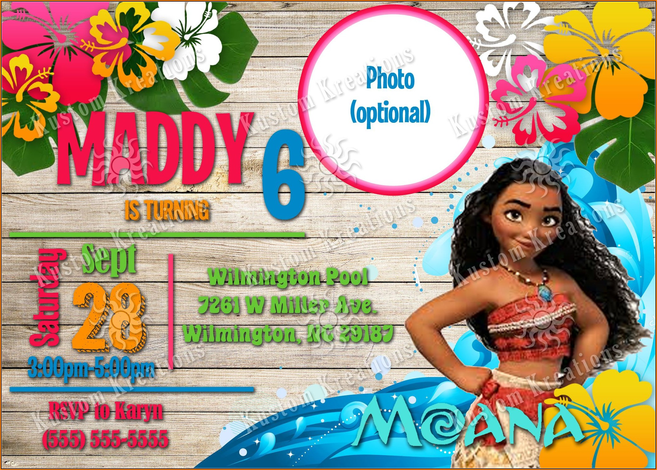 Baby Moana Birthday Invitation Template Free