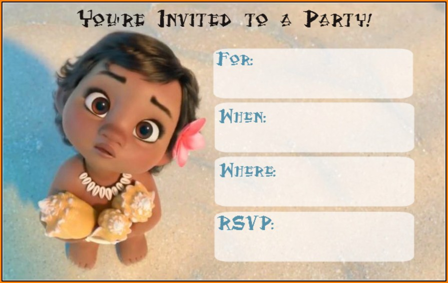 Baby Moana Invitation Template Free