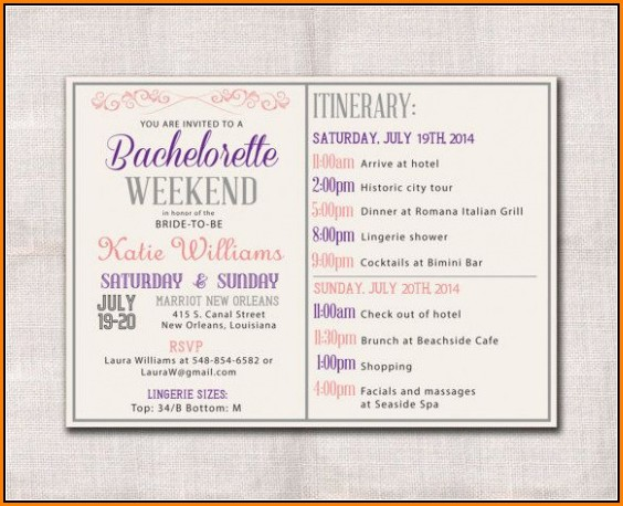 Bachelorette Itinerary Template Download