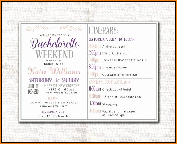 bachelorette party itinerary template template 1 resume examples