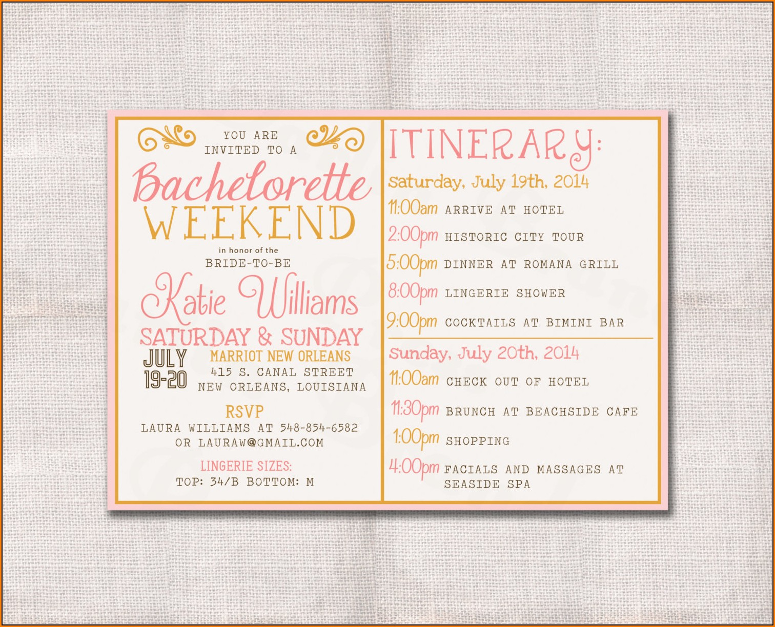 Bachelorette Weekend Itinerary Template Free