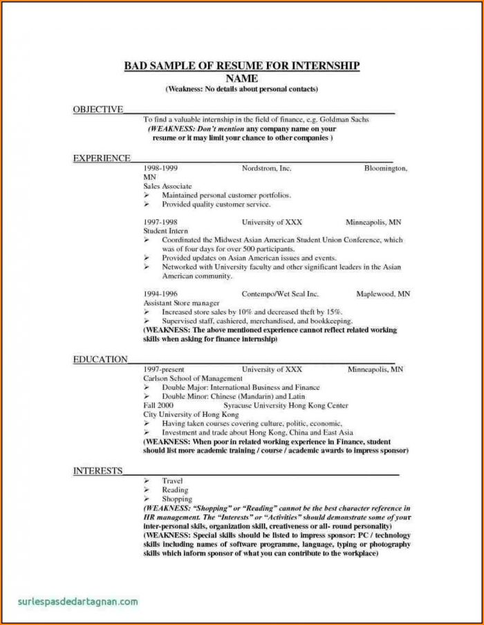Bad Resume Examples Printable
