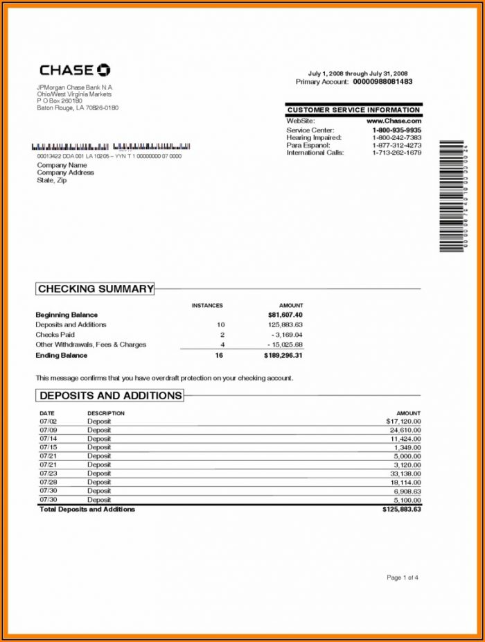 Bank Statement Template Download Free