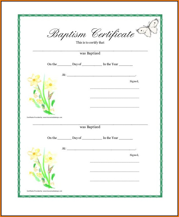 Baptism Certificate Template Free