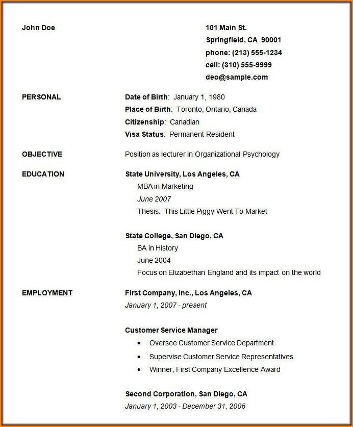 Basic Resume Template Free